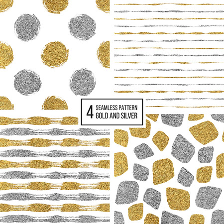 argent: Set of seamless pattern of gold and silver stripes, polka dots, mosaic spots, texture golden and silvern lines, circle, point, stroke, hand drawn vector pattern for textile, wallpaper, web, wrapping