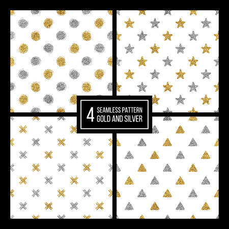 delta: Set of seamless pattern gold and silver polka dots, triangle, star, cross, hand drawn pattern of golden silvern circle, delta, plus, vector design for paper, card, invitation, wrapping, textile, web