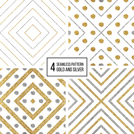 Set of geometric seamless pattern of gold silver rhombus and circle, abstract seamless background of golden and silvern stripes and points, hand drawn vector pattern for invitation, card, wedding, web Illustration