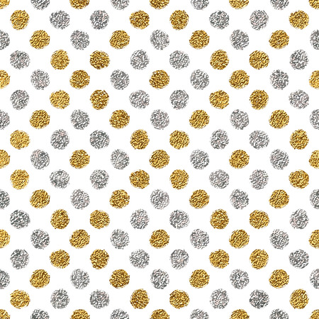 shiny argent: Seamless pattern of gold glitter and silver polka dots, hand drawn background of golden and silvern circle, vector pattern for flyer, wedding card, invitation, holiday, wrapping, textile, web design