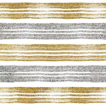 shiny argent: Seamless pattern of gold and silver lines, seamless background grunge golden and silvern stripes, hand drawn vector pattern for textile, invitation, wedding, greeting card, paper, save the date Illustration