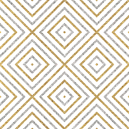 Geometric seamless pattern of gold silver diagonal lines or strokes, abstract seamless background of golden silvery rhombus, square, vector for paper, card, invitation, wrapping, textile, web design