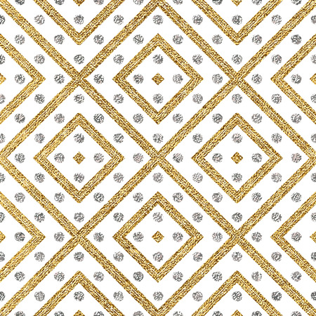 argent: Geometric seamless pattern of gold silver diagonal lines and circle, abstract seamless background of golden silvern stripes and points, hand drawn vector pattern for invitation, card, wedding, web Illustration