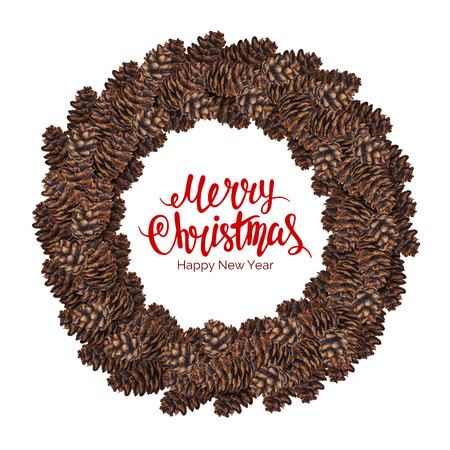 fir cone: Merry christmas text with watercolor wreath of fir cone isolated on white background, xmas lettering in waterolour frame, hand painted illustration for poster, printing, postcard, greeting card Stock Photo