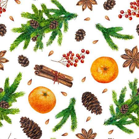 Watercolor Christmas pattern with fir branches, red berries, fir cones, orange, cinnamon, anise, watercolour hand painted seamless Christmas background for greeting card, web, paper, wrapping, party Stock Photo