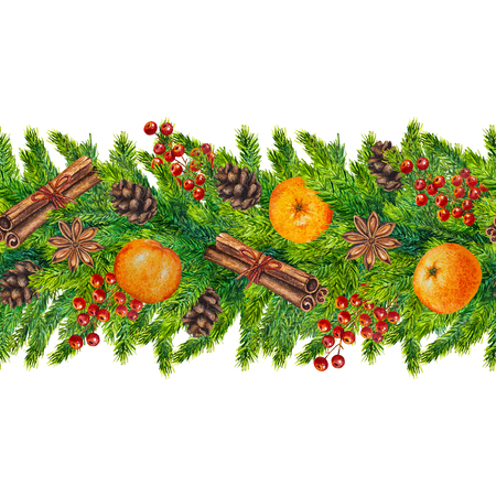 anise: Watercolor christmas seamless borders of fir branches, cones, red berries, cinnamon, anise, tangerines, watercolour hand painted xmas seamless border for greeting card, paper, poster, print, textile