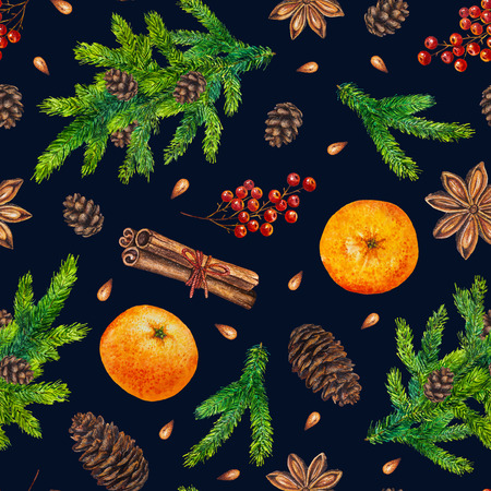 anise: Watercolor Christmas pattern with fir branches, red berries, fir cones, orange, cinnamon, anise, watercolour hand painted seamless Christmas background for greeting card, web, paper, wrapping, party Stock Photo
