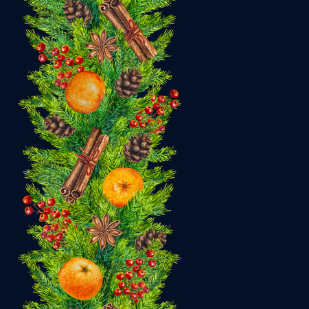 Watercolor christmas seamless borders of fir branches, cones, red berries, cinnamon, anise, tangerines, watercolour hand painted xmas seamless border for greeting card, paper, poster, print, textile