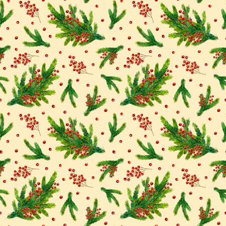 pinecone: Watercolor Christmas pattern with fir branches and red berries isolated on beige background, watercolour hand painted seamless Christmas background for greeting card, textile, paper, wrapping, party