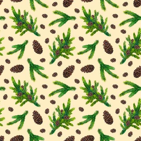 수채화 크리스마스 패턴 전나무 분기와 베이지 색 배경에 pinecones, 수채화 손으로 그려진 된 인사말 카드, 섬유, 종이, 포장, 파티, 초대장에 대 한 완벽