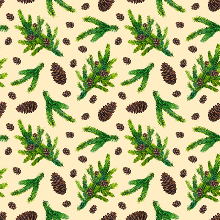 Watercolor Christmas pattern with fir branches and pinecones on beige background, watercolour hand painted seamless xmas background for greeting card, textile, paper, wrapping, party, invitation Фото со стока