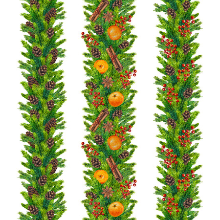 pinecone: Set of watercolor christmas seamless borders of fir branches, cones, red berries, cinnamon, anise, tangerines, watercolour hand painted xmas seamless border for greeting card, paper, wrapping, textile Stock Photo