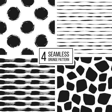 wrapping animal: Set of grunge seamless pattern of black white stripes, polka dots, animal spots, texture grunge monochrome lines, circle, point, stroke, hand drawn vector pattern for textile, wallpaper, web, wrapping Illustration