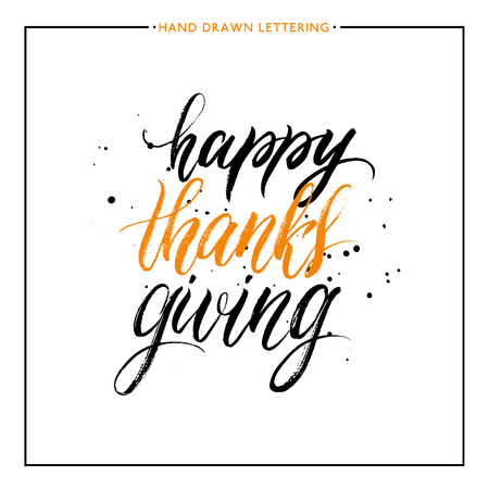 thanks giving: Happy Thanks Giving lettering with black splashes isolated on white background, grunge hand painted letter, vector thanksgiving text for greeting card, poster, banner, print, brush calligraphy