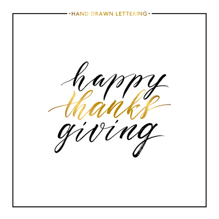 thanks giving: Happy Thanks Giving gold text isolated on white background, hand painted letter, golden vector thanksgiving lettering for greeting card, poster, banner, print, handwritten calligraphy