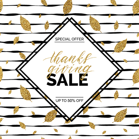 thanks giving: Thanksgiving sale text vector on seamless striped background with gold glitter leaves, special offer thanks giving sale, golden shiny discount text for flyer, poster, banner, print,