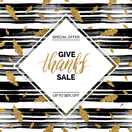 Give Thanks sale vector text on seamless pattern of gold autumn leaves on striped background, special offer thanks giving sale, golden shiny discount text for flyer, poster, banner, print, Illustration