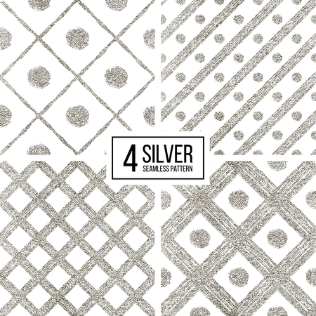 argent: Set of silver seamless pattern of diagonal stripes and circle, seamless background of silvern glitter cage and lines, hand drawn vector pattern for invitation, card, wedding, paper, web