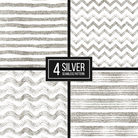 Set of seamless pattern of silver glitter stripes, zigzag chevron, wavy stripe, seamless texture silvery lines, wave, zig zag stripe, hand drawn vector pattern for paper, card, invitation, wedding, web