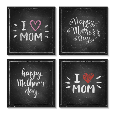caligraphic: Set of Happy Mothers Day Cards - hand drawn chalk lettering on chalkboard, Mothers Day typography background, I love mom - quote with pink heart, design for card, poster, banner, vector illustration
