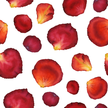 red rose petals: Watercolor seamless pattern of red rose petals, hand painted watercolor floral background of red flower for wedding, invitation, greeting card, wallpaper, textile, web design, wrapping, summer design Illustration