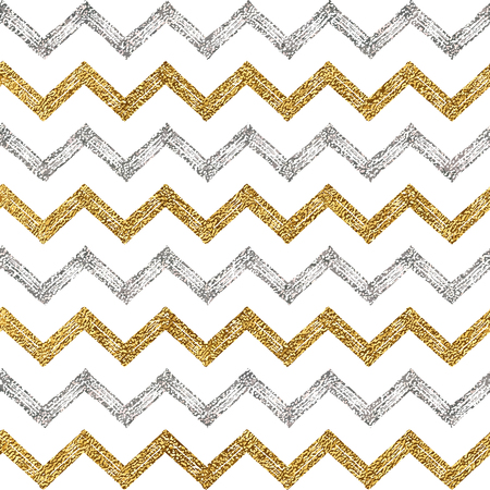 shiny argent: Seamless pattern of silver gold zigzag chevron, seamless background of zig zag stripe, hand painted vector pattern for textile, wallpaper, web, wrapping, save the date, wedding, card, paper