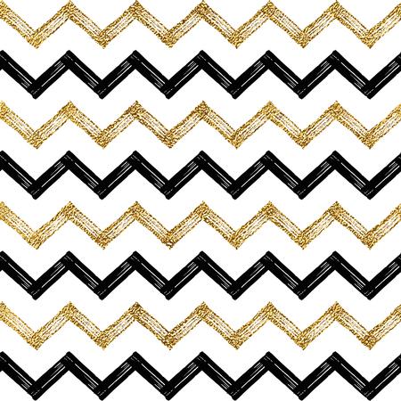 Seamless Pattern Of Gold Glitter Zigzag Chevron Background