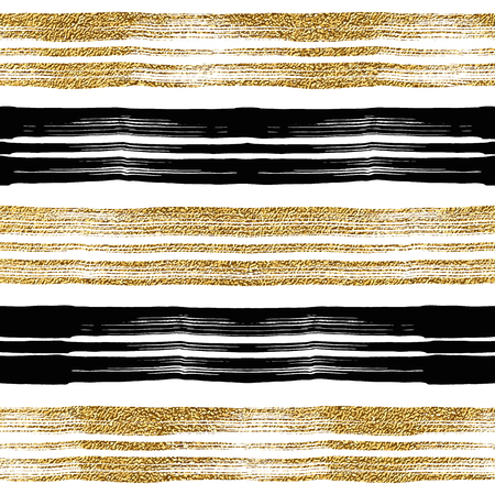 Seamless pattern of gold and black lines, background of golden shiny and black stripes, hand drawn vector design for textile, invitation, wedding, greeting card, paper, save the date