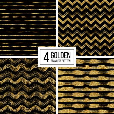 Set van naadloze patroon van goud glitter strepen, zigzag chevron, golvende streep, naadloze textuur gouden lijnen, golf, zig zag strook, hand getrokken vector patroon voor papier, kaart, uitnodiging, bruiloft, web