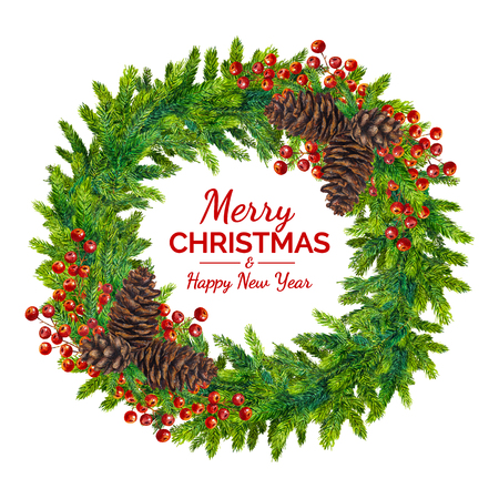Merry christmas and happy new year greeting card watercolor stock illustration merry christmas and happy new year greeting card watercolor xmas wreath of pine and fir branches cones and berries on white background m4hsunfo