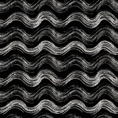shiny argent: Grunge seamless pattern of silver wave, silvern wavy striped background, hand painted vector design for textile, wallpaper, web, wrapping, wedding, card, paper Illustration