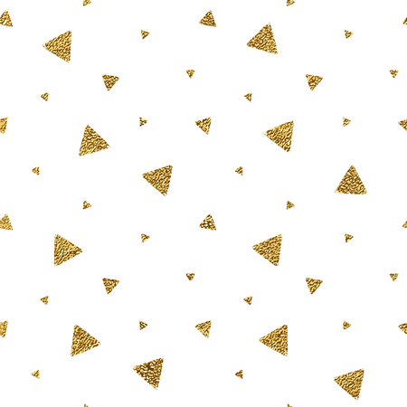 Geometric grunge seamless pattern of gold glitter triangle confetti on white background, hand drawn seamless golden background of trigon, vector shiny design for textile, wallpaper, wrapping, paper