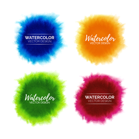 Colorful set of abstract watercolor stains isolated on white background, hand painted watercolour spread spots, vector template for branding design, stickers, label Illustration