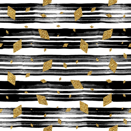 rhomb: Grunge seamless pattern with gold glitter rhomb on stripe background, golden and black seamless background with rhombus, vector pattern for invitation, greeting card, wedding, paper, wrapping, textile