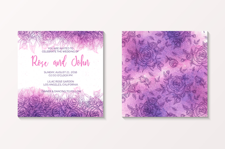 holiday invitation: Watercolor wedding invitation with flower roses, lilac wedding floral background, pink vector illustration for greeting card, invitation, holiday, summer design