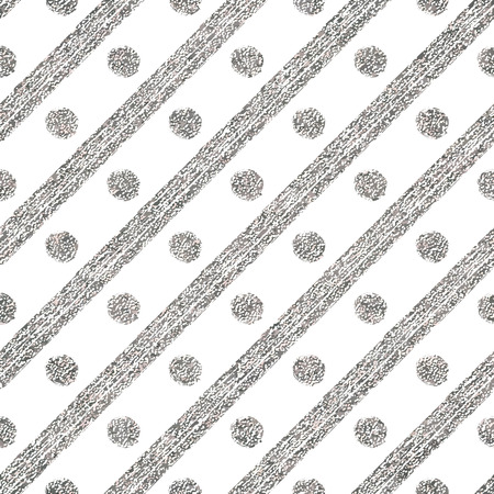 argent: Geometric seamless silver pattern of diagonal strokes and circle, abstract silvery background of argent lines and points, hand drawn vector for invitation, card, wedding