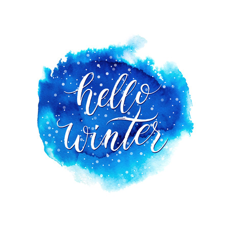 Hello winter text on blue watercolor splash isolated on white background, winter lettering on hand painted watercolour stain, vector spot, watercolor background for card, poster, banner, print