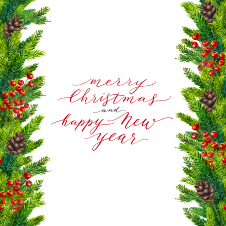 merry christmas and happy new year text on watercolor christmas border of fir branches cones - Merry Christmas Border