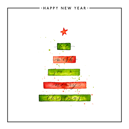 We wish you a Merry Christmas text on watercolor xmas tree isolated on white background, hand painted calligraphy, watercolour vector lettering for holiday card, poster, print, invitation