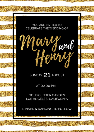 nuptial: Wedding invitation with gold glitter stripes, bridal background of golden shiny lines, hand drawn vector design for save the date, greeting card, party