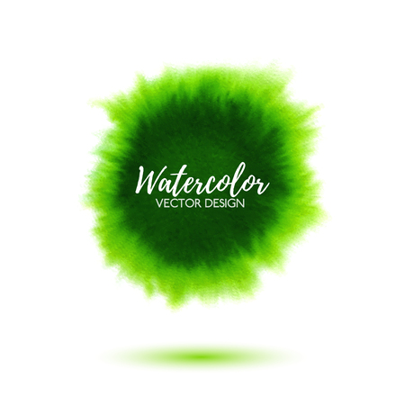 virid: Abstract green watercolor background, hand drawn virid watercolour stain, bright vector splash for design