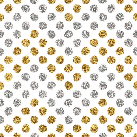 shiny argent: Seamless pattern of gold glitter and silver chevron of circle, hand drawn background of golden and silvern zig zag, vector pattern for wedding invitation, card, holiday, wrapping, textile, web design