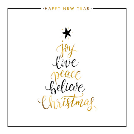 Joy, love, peace, believe, Christmas gold text isolated on white background, Happy New Year and Christmas card, golden vector Xmas lettering for holiday card, poster, banner, print, invitation
