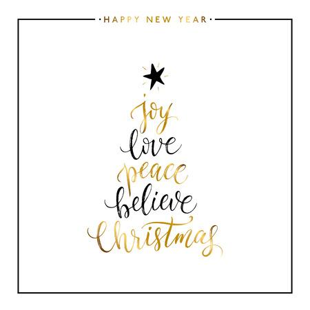 Vreugde, liefde, vrede, geloof, Kerstmis gouden tekst op een witte achtergrond, Gelukkig Nieuwjaar en kerstkaart, gouden vector Xmas belettering voor vakantie kaart, poster, banner, print, uitnodiging