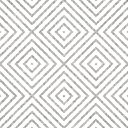 shiny argent: Geometric silver seamless pattern of of rhombus, square, abstract silvery diagonal striped background, vector for paper, card, invitation, wrapping, textile, web design, party