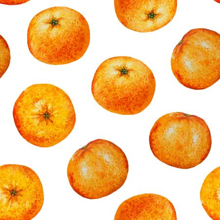 mandarins: Seamless pattern watercolor orange tangerine, Seamless background of watercolor fruit mandarin for flyer, poster, wallpaper, web, invitation, greeting card, menu of cafe, restaurant, fabric, textile Stock Photo