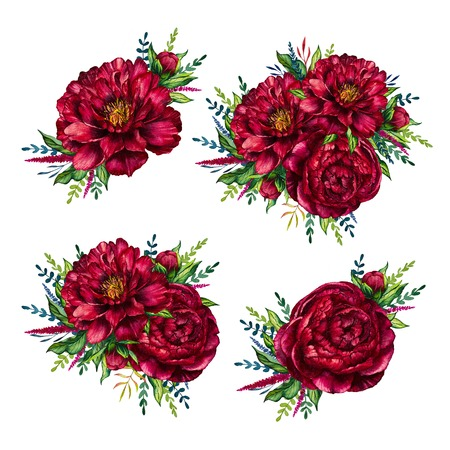 Set of watercolor red peonies bouquets, flower peony, watercolor flower, watercolor peony isolated on white background, set of flower, design for mothers day, womens day, wedding, card, holiday Stock Photo