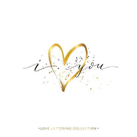 Happy Valentines Day card, i love you text with gold heart and splashes, vector golden love lettering for greeting card, invitation, wedding, save the date, poster, handwritten calligraphy