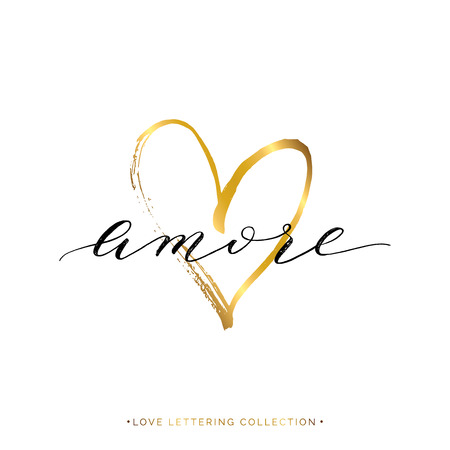 amore: Amore text with gold heart isolated on white background, love in Italian, hand painted letter, golden vector love lettering for greeting card, poster, invitation, wedding, handwritten calligraphy