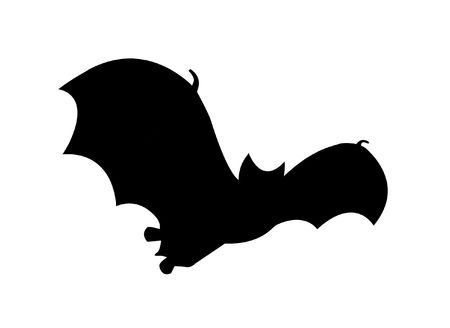 Simple silhouette drawing illustration clip art of a bat in flight, great Halloween symbol.